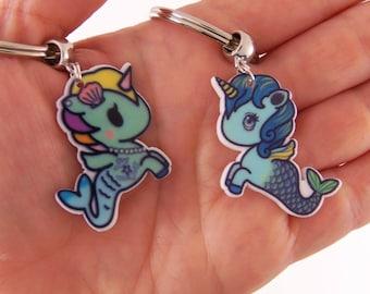 Mermaid birthday party favors, unicorn birthday party favor, unicorn mermaid keychain, mermaid key chain, unicorn key chain, pony party gift