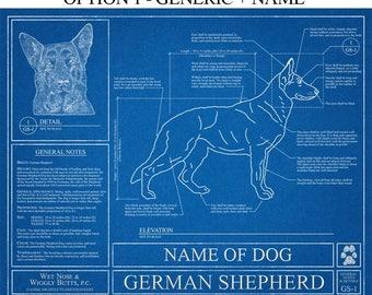 Personalized German Shepherd Blueprint / German Shepherd Art / German Shepherd Wall Art / German Shepherd Gift / German Shepherd Print
