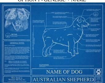 Personalized Australian Shepherd Blueprint / Australian Shepherd Art / Australian Shepherd Wall Art /  Australian Shepherd Gift / Print