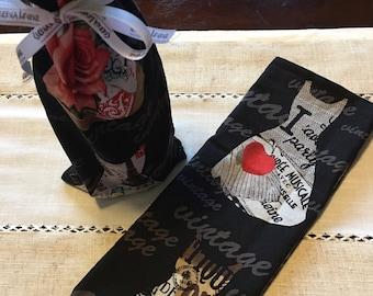 Wine bag, gift bag, wine tote, french wine sack, wine gift, handmade wine bag, wine gift bag, sewn gift bag, CerenaLevene
