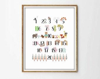 nursery wall art,nursery numbers,kids art room,4 SIZES INCLUDED,kids art decor, nursery print, nursery decor, baby print, animal print