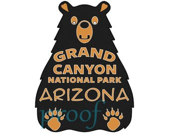Bear Grand Canyon National Park Decal Sticker Arizona Vinyl Outdoors Nature