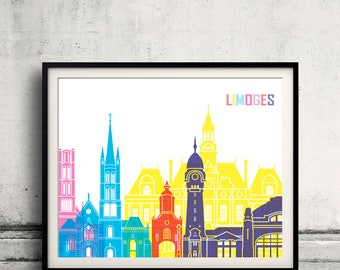 Limoges skyline pop - Fine Art Print Glicee Poster Gift Illustration Pop Art Colorful Landmarks  - SKU 2493