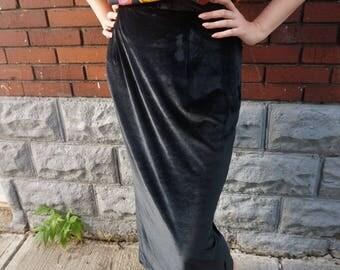 Vintage High Waisted Crushed Velvet Skirt