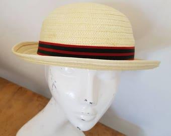 Vintage straw sun hat by Olney size hat 55 cms Children's Vintage hat