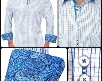 Blue Plaid with Paisley Accent Dress Shirts - Made To Order in USA