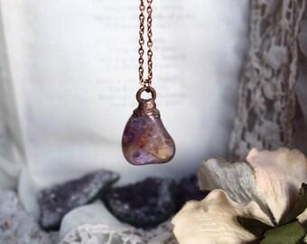 Ametrine Necklace, Electroformed Necklace, Copperplated Necklace, Copper Crystal Necklace, Crown Chakra, Healing Crystals, Boho Necklace