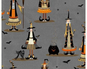 Witchy Halloween Fabric / Studio E Fabrics 3705 / Happy Halloween Fabric / Allover Witch Fabric / Yardage and Fat Quarters