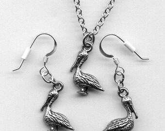 Pelican Jewelry, Pelican Necklace, Pelican Earrings, Pelican Gift Set, Pelican Jewelry Set, Pelican Pendant, Silver Pelican, Pelican Charm