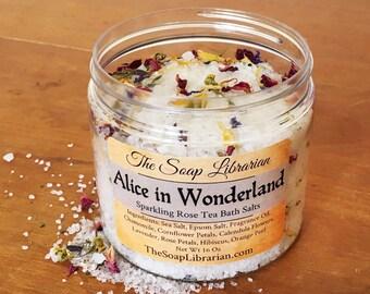 Alice in Wonderland Bath Salts - Sparkling Rose Tea - Housewarming Gift, Bath Soak, Epsom Salt, Sea Salt, Bookish Gift For Reader, Book Bath