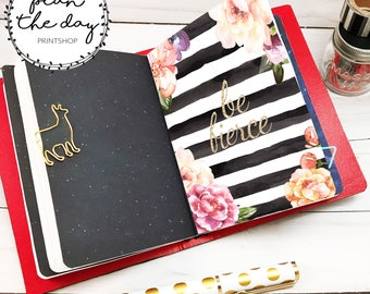 Floral Watercolor Stripe Insert for Traveler's Notebook in Micro, Passport, Pocket, A6, Personal, B6, Standard, & Cashier