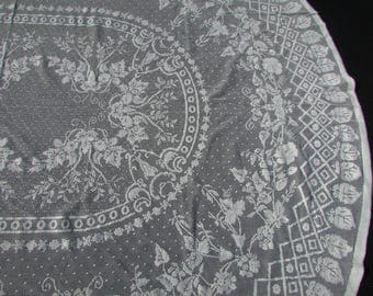 """Vintage Ivory Filet Crochet Morning Glory Lace Tablecloth/ Oval, Off white floral, vines machine lace tablecloth/ 58"""" X 74"""""""