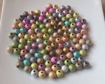 Stardust beads, pearls round metallic spacer beads, acrylic, multicolor beads, 6 mm
