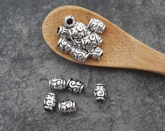 Spacer beads tubes, ethnic boho, silver, 6 x 5 mm beads