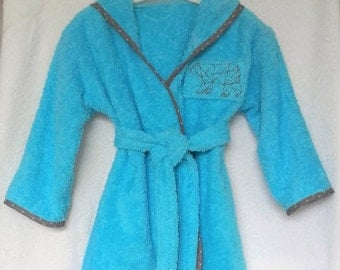 custom 12-18 months blue Terry hooded bathrobe name embroidered in the back