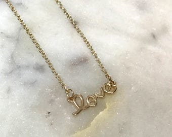 Gold Love Necklace, Love Script Necklace, Love Charm Necklace, Love Gold Necklace, Dainty Love Necklace, Simple Love Necklace, Love Necklace