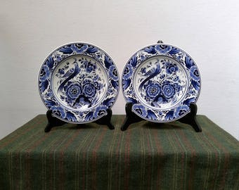 2 Vintage DELFT BLUE Wall Plates by Velsen VSL Holland, Hand Painted Blue and White Peacock & Flowers Decor, Genuine Dutch Delft Art Pottery