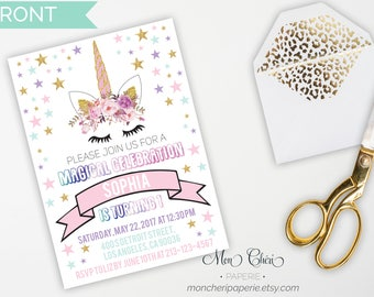 Unicorn Invitation Birthday Printable / Floral Unicorn Invitation / Magical Celebration / Printable Invitation / Girls Birthday Party