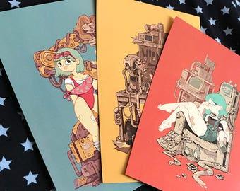 Set of 3 Cyberpunk Girl Postcards - Illustrated by krzymsky