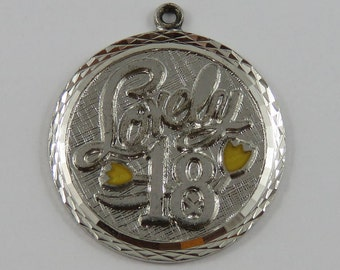 Lovely 18 With Yellow Enamel Flowers Sterling Silver Vintage Charm For Bracelet