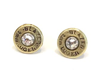 Brass 9 MM Caliber Bullet Earrings with Swarovski Crystals, Women's jewelry, Bullet earrings, Handmade jewelry, Valentine gifts