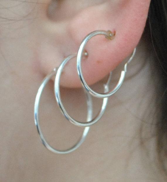 Boucles d'oreilles créoles en argent - différentes tailles
