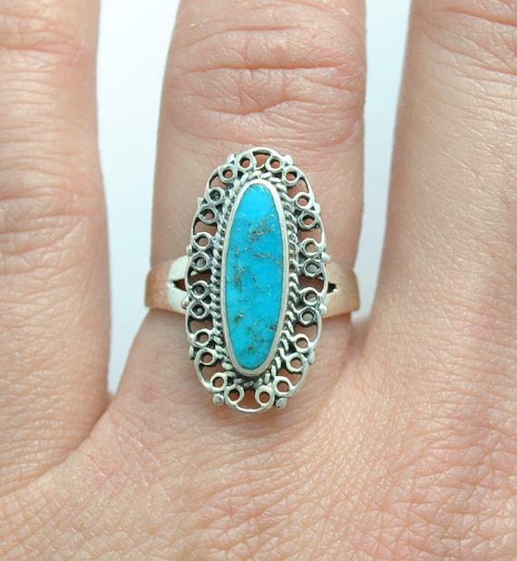 Turquoise ring, Native american turquoise ring, oval ring, boho ring, vintage ring, ethnic ring, navajo ring, vintage rings