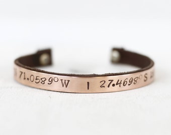 GPS Location Coordinates Bracelet, Long Distance Relationship Gift Ideas, Copper and Leather Bracelet, Christmas Gift for Her, Holiday Gifts