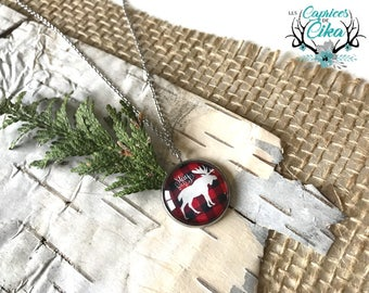 Moose on red  buffalo plaid  necklace. Stainless steel only. hypoallergenic