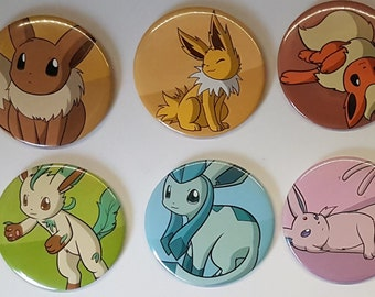 Pokemon Eevee evolutions awake and sleeping pinback Buttons
