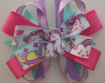 Pretty Colorful Unicorn HairBow