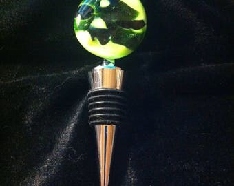 Fused Glass Wine Bottle Stopper OOAK