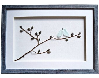 Sea glass art love birds, Birthday gift for wife girlfriend fiance, Blue birds on a branch, Romantic couples gift, Love wall art, Pebble art