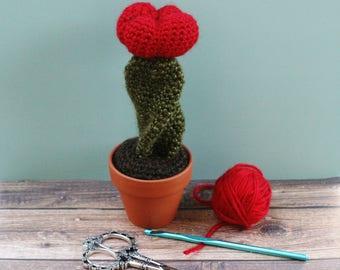 Twisted Cactus with Red Bulb in Terra Cotta Pot - Knit / Crochet - Faux Cactus - Fake Plant