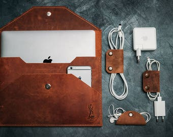"Leather MacBook Pro Case 13"" & 15"" / Leather Laptop Sleeve / Leather MacBook Pro Organizer"