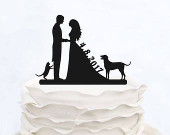 Wedding Custom Cake Topper with date_Wedding Cake Topper Bride & Groom whit two dogs_Personalized Cake Topper Couple silhouette