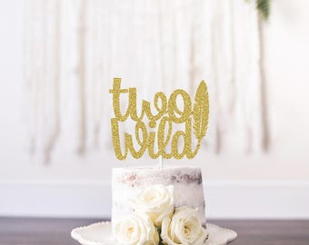 Two Wild Cake Topper, Boho Cake Topper, Feather Cake Topper, Aztec Cake Topper, Gold Wild Cake Topper, Aztec Party