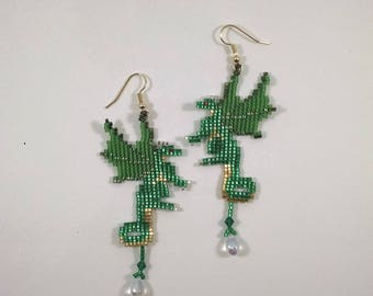 Beaded Dragon Earrings, Green and Gold Fairy Dragon Earrings with Crystal Treasure