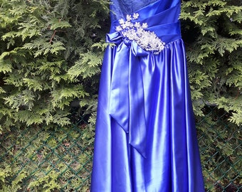 Royal Blue Dresses for Juniors, Prom Dresses, Bridesmaid Dresses, Party Dresses, Gifts For Her, Satin Dresses, Blue Gown Dresses,