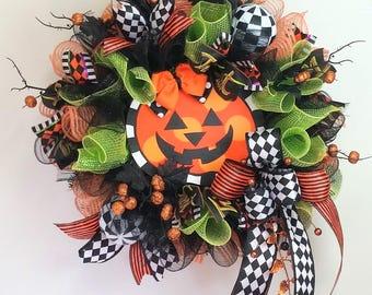 Halloween Jack-o-Lantern wreath, Halloween Pumpkin deco mesh wreath, Kid Friendly Halloween wreath, Halloween decor, Pumpkin wreath