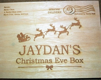 Personalised Wooden Christmas Eve Box, Engraved Christmas Eve Box