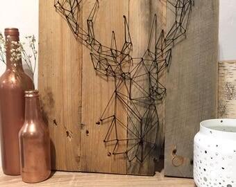 Pallet Board silhouette deer origami order [Scandinavian Style - deer - table - reclaimed wood.