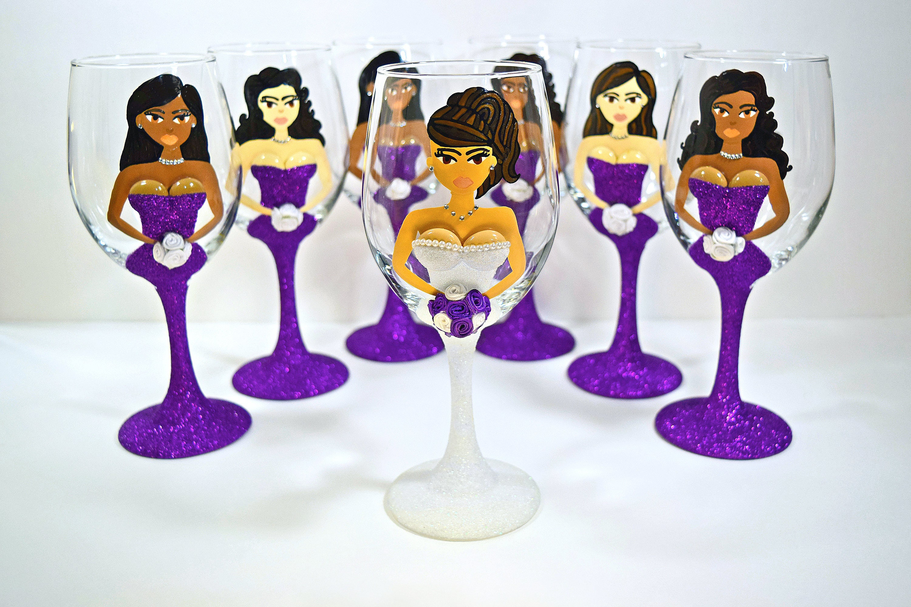 How to decorate wine glasses for bridesmaids -  Zoom