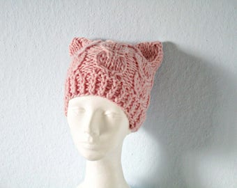 Pink pussy hat Knit pussy hat Knitted cat hat Wool pussy hat Kitty cat hat Pink kitty beanie Knit cat hat Cute pussy hat Chunky cat hat