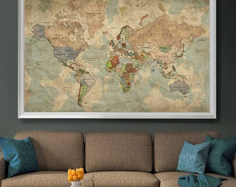Push Pin Travel Map of World, Vintage Map, Push Pin Map, Push Pin World Map, World Map Poster Wall art, Large Wall Art (L128)
