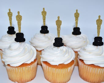 Oscar awards party, oscar awards, oscar award cupcakes, oscar cupcakes, award, gold and black, oscar awards 2018, oscar party, red carpet