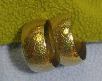 Gorgeous Wide Decorated Goldtone Hoop Clip Earrings