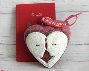 Valentine's Day Gift, Valentines Heart Decor, Wedding Gift, Anniversary Gift, Paper Mache Heart, Me And You, Heart Sculpture, Couple Kissing