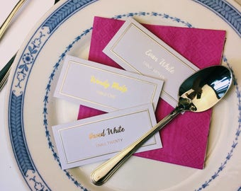 TEN (10) PACK Folded Wedding Place Cards Gold, Rose Gold OR Silver Foil - Name tag, place settings, custom, modern
