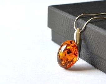 Baltic Amber Pendant, Amber Necklace, Amber Jewelry, Silver Amber Pendant Necklace, Minimalist Necklace,  Natural Elegant Pendant